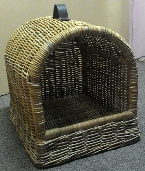 Dog bed wicker rattan in grey