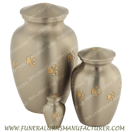 BRASS CREMATION URNS - CLASSIC PEWTER PAW ENGRAVED