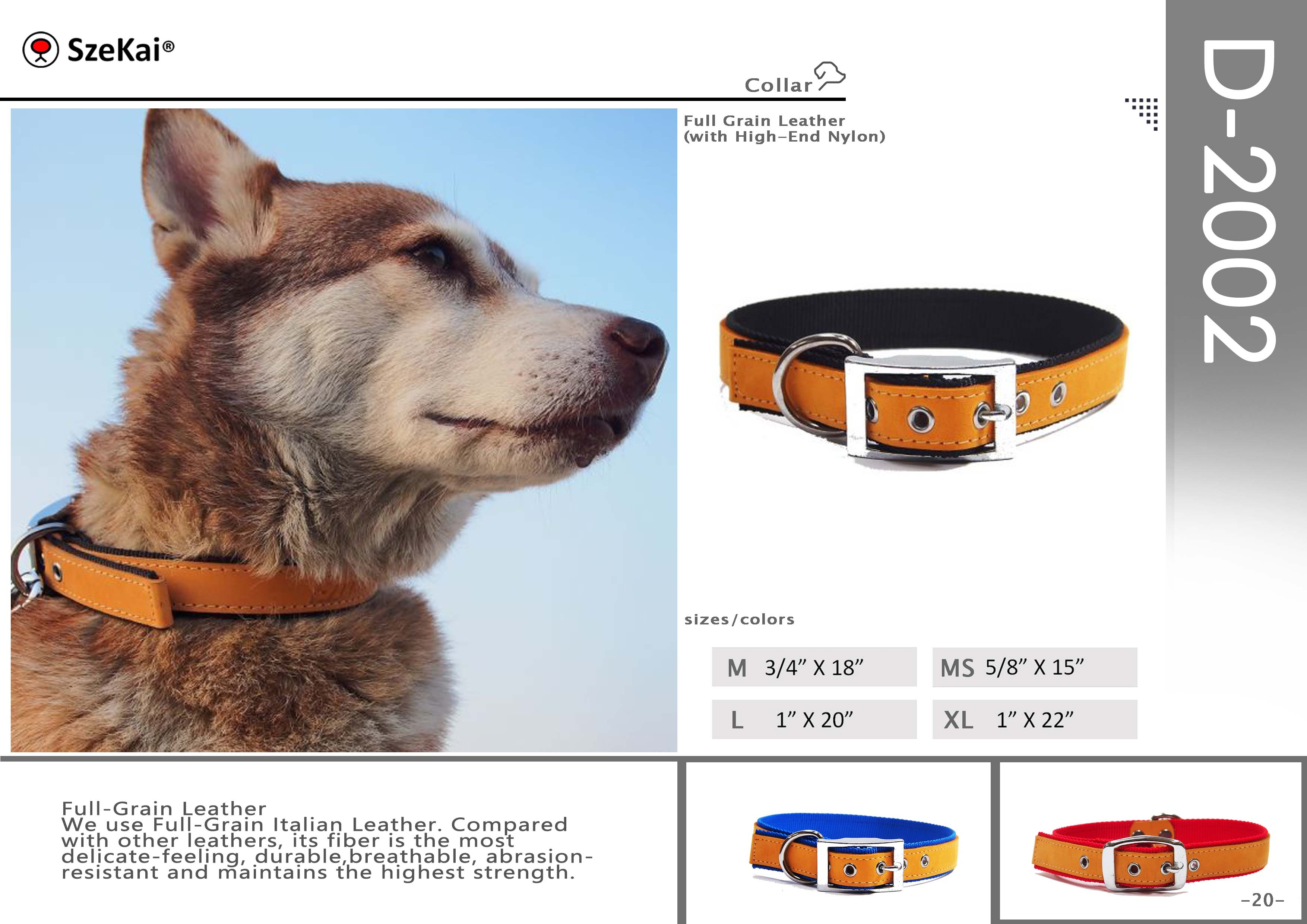 Full Grain Leather with High-End Nylon Collar