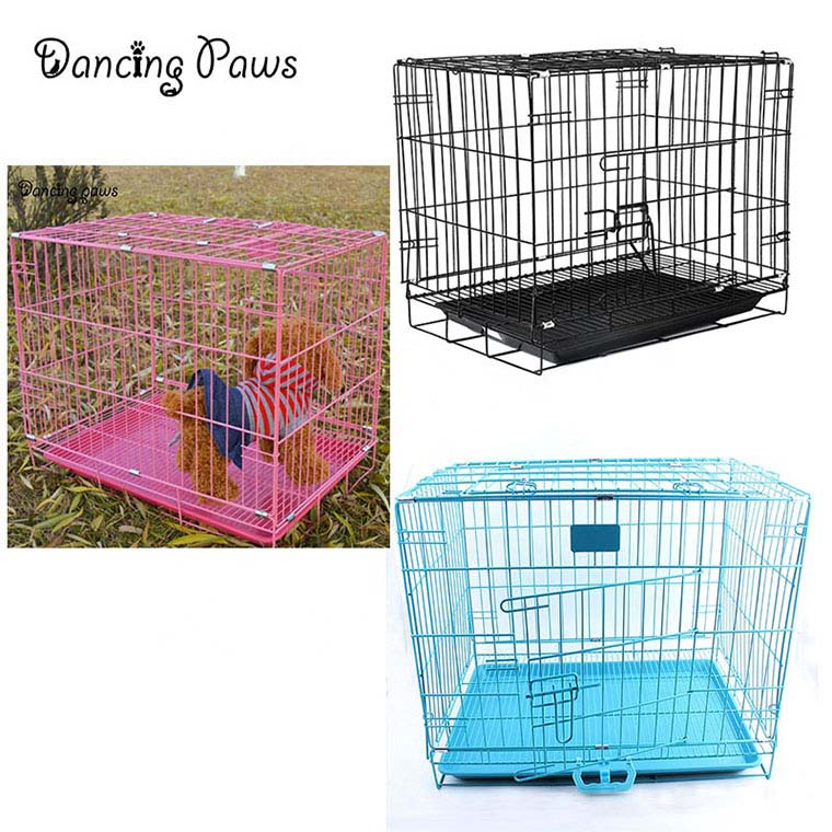 China pet supplier bold folding dog cage iron wire Teddy cage dense net cage wtih skylight size S 60*43*51
