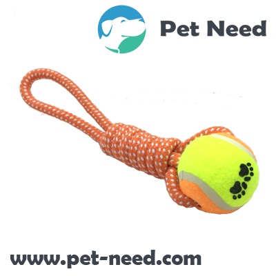 Coil One Handle Dog Rope Toy with Tennis Ball